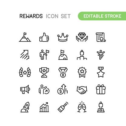 Success & Rewards Outline Icons Editable Stroke