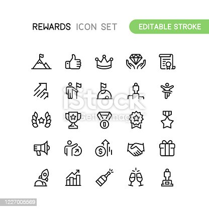 Set of success and rewards outline vector icons. Editable Stroke.