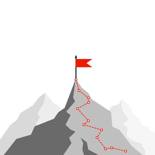 маршрут успеха. путь к вершине горы. путь бизнес-стратегии к успеху. маршрут альпинизма к вершине. иллюстрация плоский вектор - white background stock illustrations