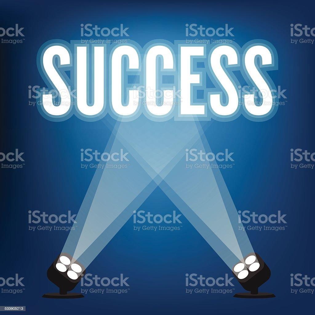 Success signs with spotlight illuminated vector art illustration