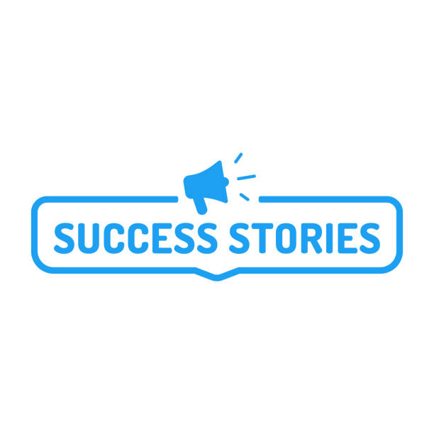 Success stories. Badge with megaphone icon. Flat vector illustration on white background. Business concept. storytelling stock illustrations