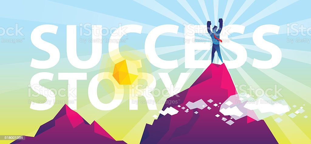 success story vector art illustration
