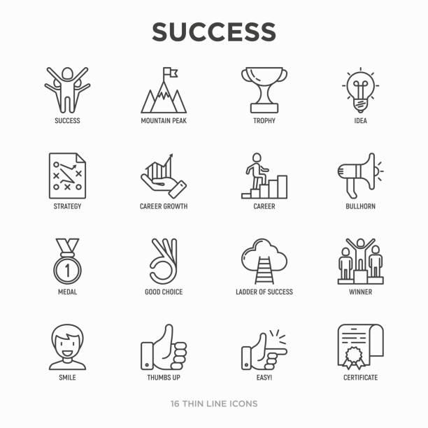 illustrazioni stock, clip art, cartoni animati e icone di tendenza di success thin line icons set: trophy, idea, mountain peak, career, bullhorn, strategy, ladder, winner, medal, award, good choice, easy, certificate. modern vector illustration. - facilità