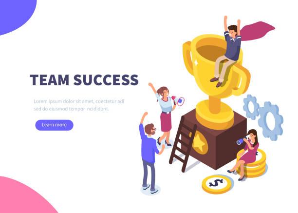 success Success concept banner. Can use for web banner, infographics, hero images. Flat isometric vector illustration isolated on white background. motivation stock illustrations