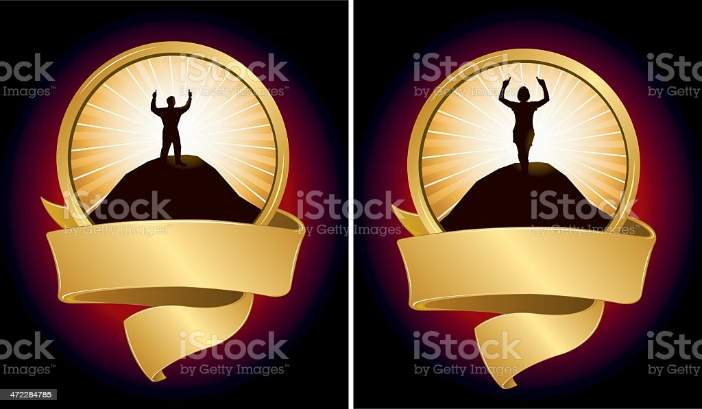 Success Victory Everyday People with Banner royalty-free success victory everyday people with banner stock vector art & more images of achievement