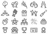 Successful and Celebration Line Icons