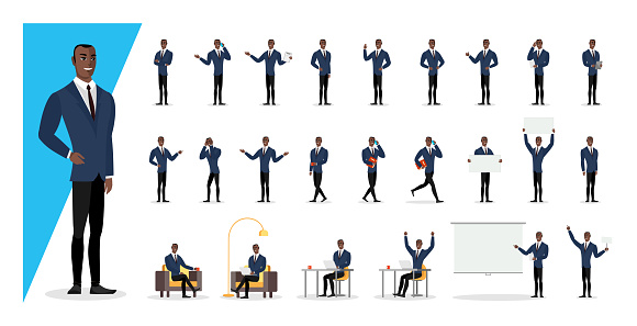 Successful black colored businessman in blue suit showing gestures and emotions in different poses. Office african american business man character. Male person standing, sitting, walking set