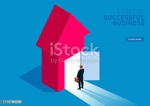 Successful business, businessman standing in front of open door