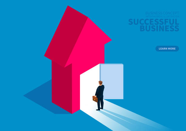 Successful business, businessman standing in front of open door Successful business, businessman standing in front of open door changing form stock illustrations