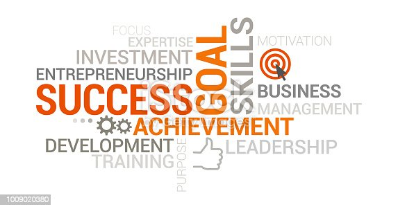 Successful business, management and entrepreneurship tag cloud with icons and concepts