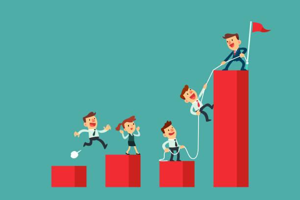 erfolgreicher Business Leader hilft seinem Team, Balkendiagramm zu klettern – Vektorgrafik
