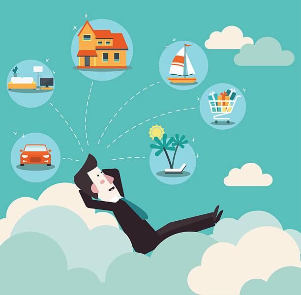 illustrazioni stock, clip art, cartoni animati e icone di tendenza di successful business man relaxing on clouds and dreaming about house - car chill