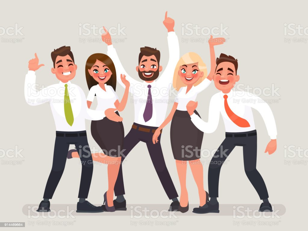 Successful business team. A group of happy office workers celebrating the victory. People with their hands up vector art illustration