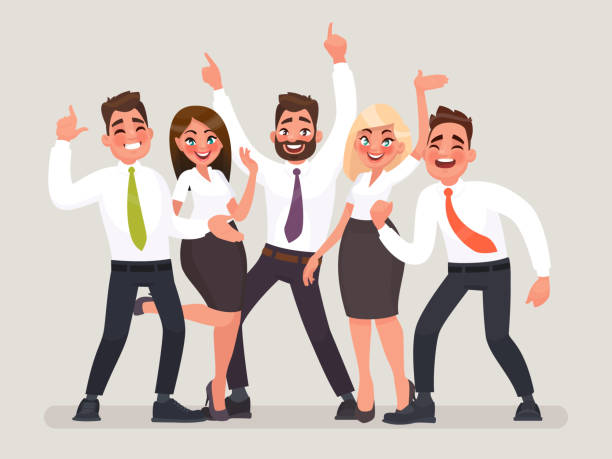 Successful business team. A group of happy office workers celebrating the victory. People with their hands up Successful business team. A group of happy office workers celebrating the victory. People with their hands up. Vector illustration in cartoon style coworker stock illustrations
