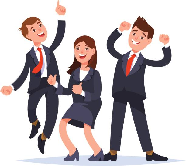 Successful business team celebrating success Successful business team celebrating success. Happy business people jumping raised hand gesture and smiling. Office party.Vector illustration flat style excitement stock illustrations