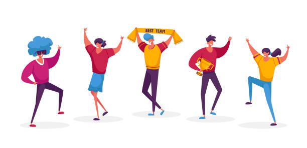 bildbanksillustrationer, clip art samt tecknat material och ikoner med framgångsrika business team manliga och kvinnliga karaktärer står i rad poserar med vinnare troféer firar victory framgångsrika project. lagarbete, victory concept. linjär personvektorillustration - endast vuxna