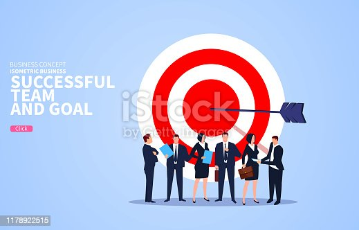 Successful business team with business goals