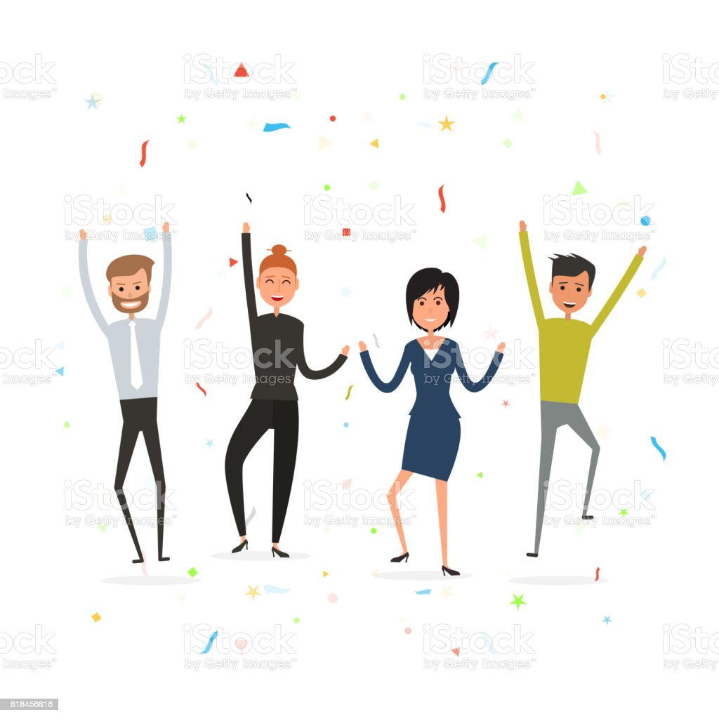Successful business teamwork concept.Happy young business people.Business team of employees.Team of happy young man & woman icon.Business company partners. vector art illustration