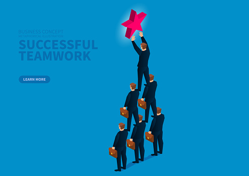 Successful business teamwork, team consisting of humanoid pyramids to extract stars