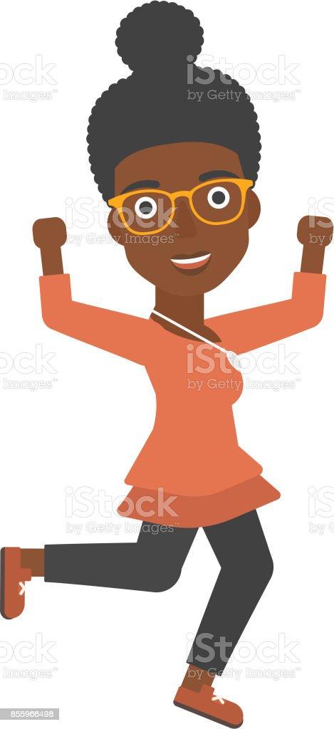 Successful business woman running vector art illustration