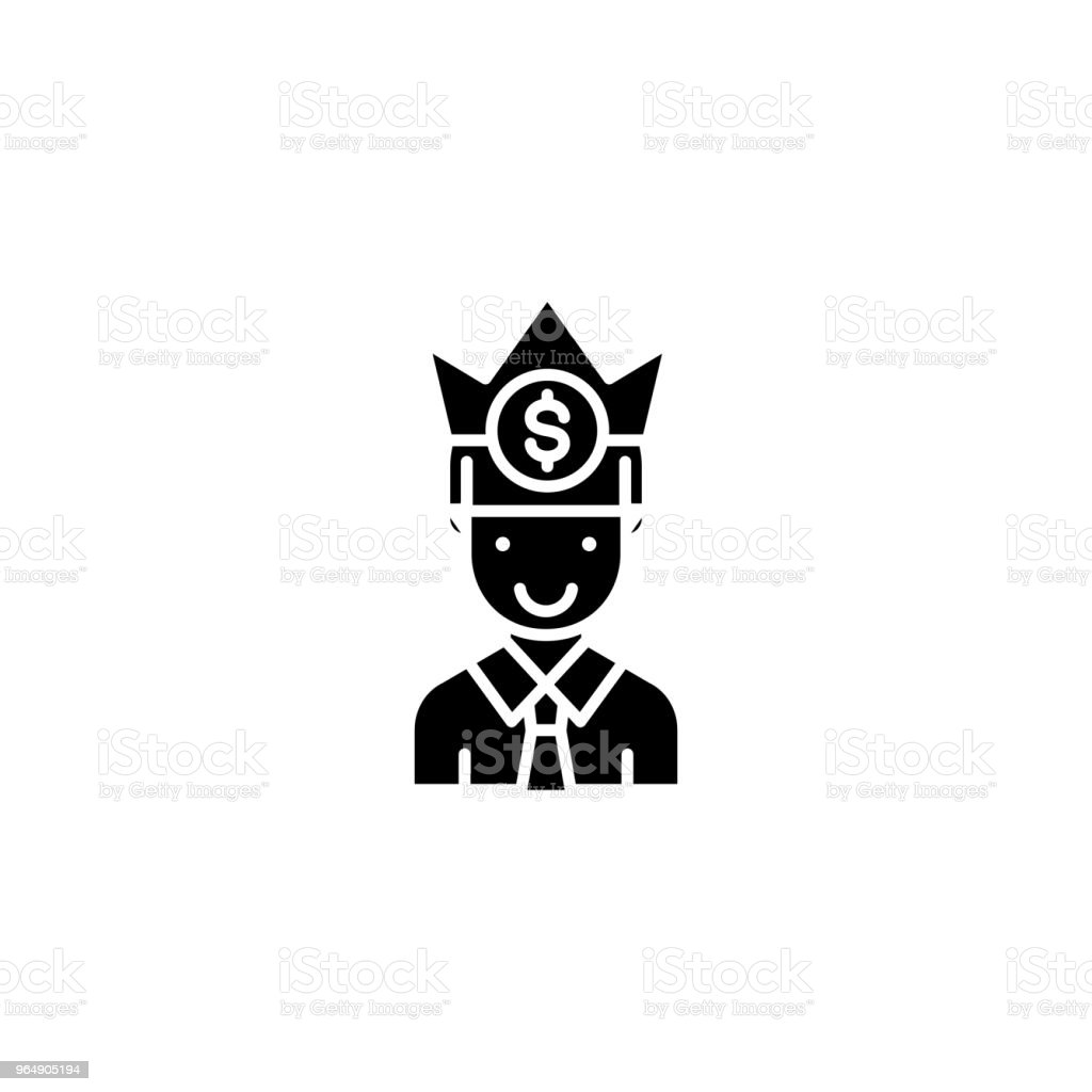 Successful businessman black icon concept. Successful businessman flat  vector symbol, sign, illustration. royalty-free successful businessman black icon concept successful businessman flat vector symbol sign illustration stock illustration - download image now