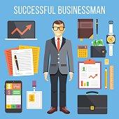 Successful businessman, business stuff flat illustration and flat icons set