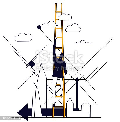 istock Successful Businessman climbing up with the ladder. Set of Business concept illustrations. 1312001114