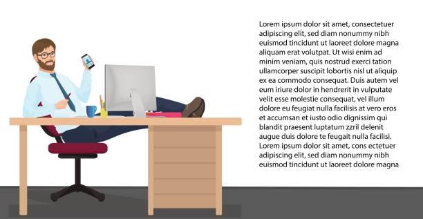 erfolgreicher geschäftsmann mit ruhe am arbeitsplatz im büro. vektor-mann-manager sitzt auf einem stuhl, die füße auf den tisch - möbelfüße stock-grafiken, -clipart, -cartoons und -symbole