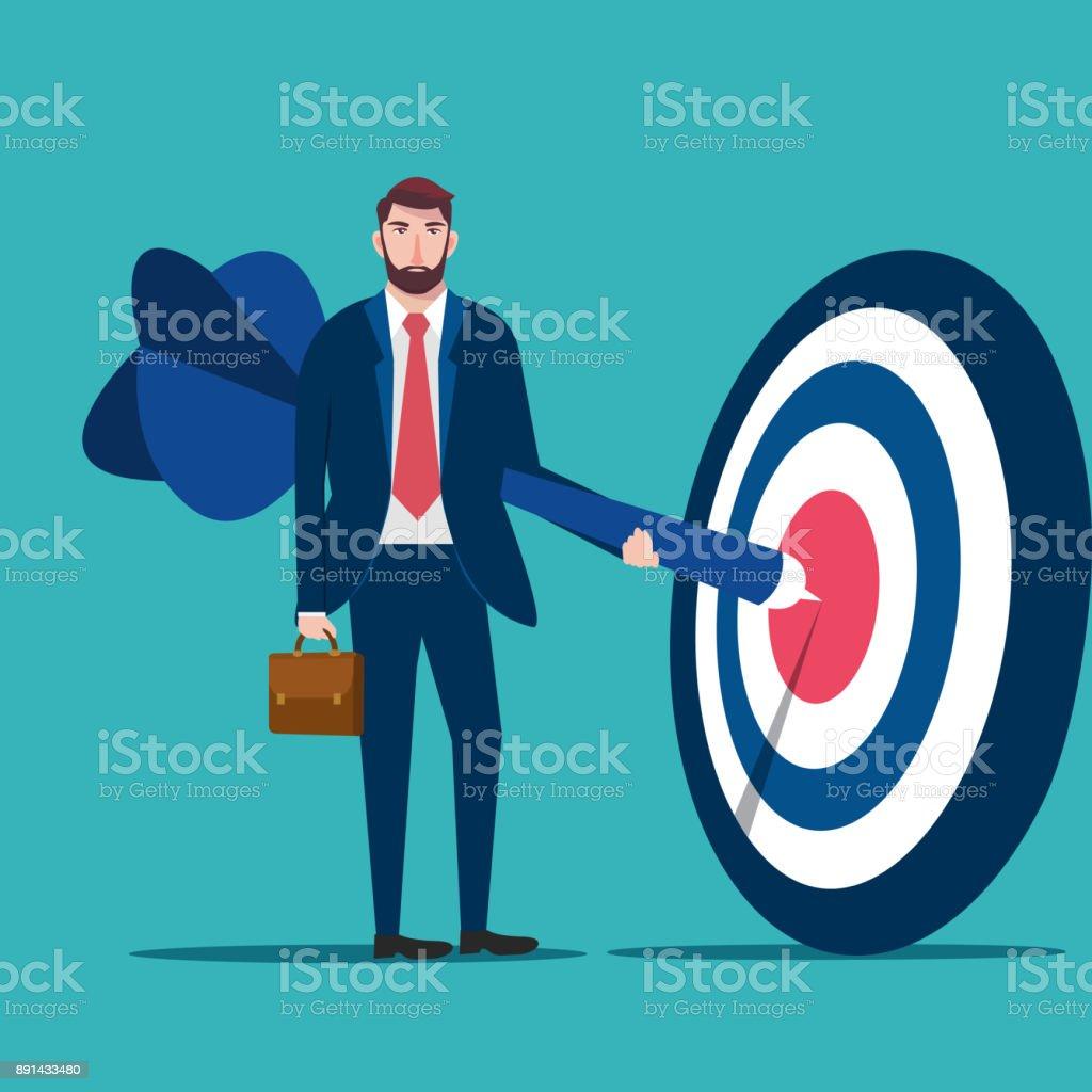 Successful businessman hold arrow in hand , businessman hanging arrow on target, business success concept vector illustration vector art illustration