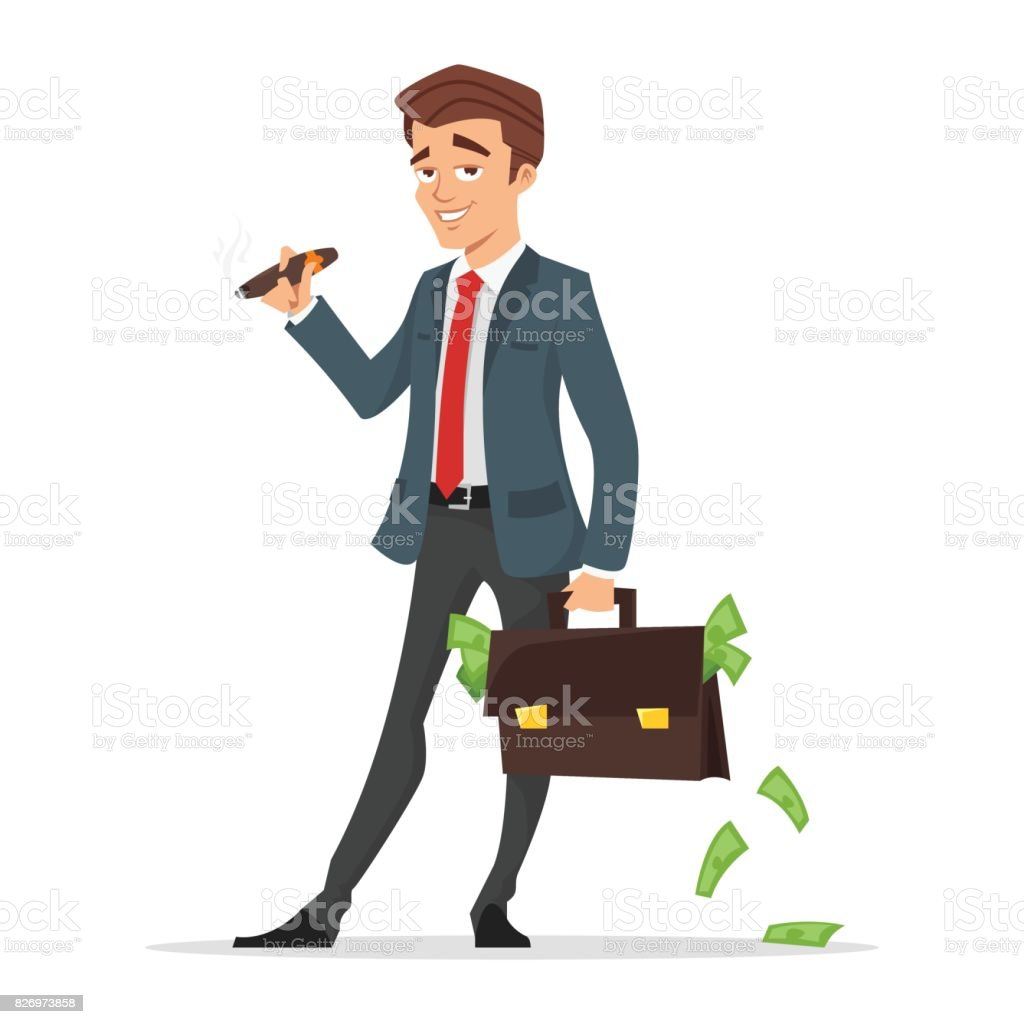 successful businessman holding a case full of money. vector art illustration