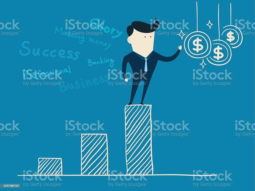 Successful businessman isolated on a blue background vector art illustration