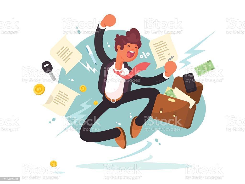 Successful businessman jumping for joy vector art illustration