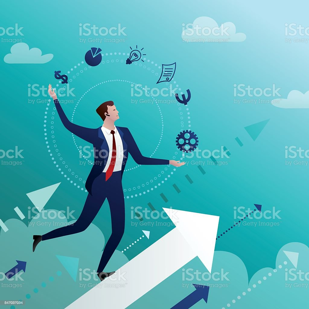 Successful businessman manages the affair векторная иллюстрация