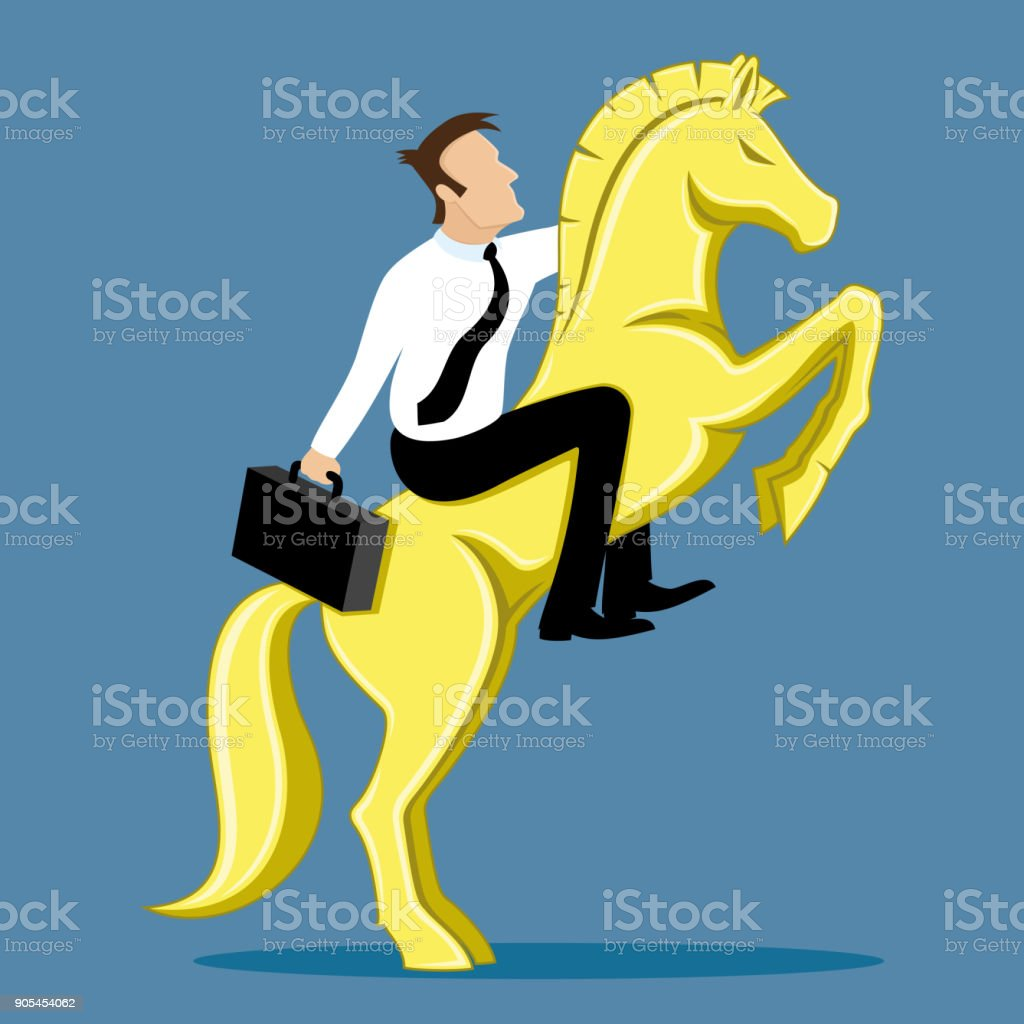 Successful businessman on a gold horse.