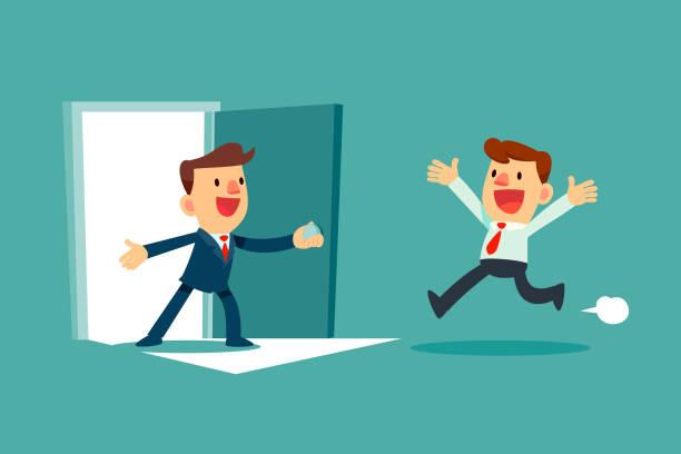 erfolgreicher Geschäftsmann offene Tür für einen anderen Geschäftsmann – Vektorgrafik