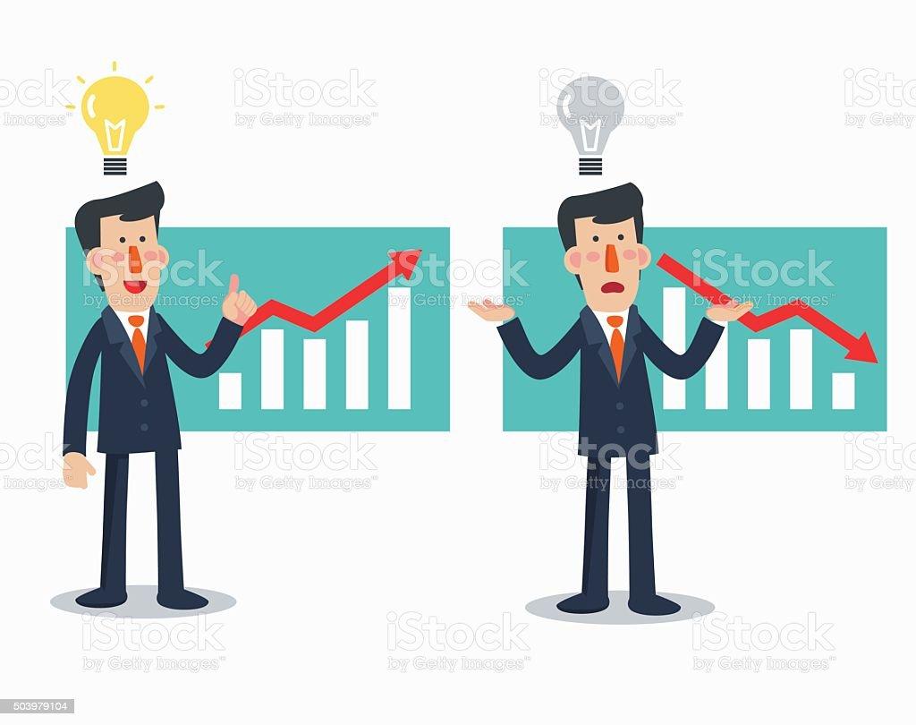 Successful businessman presenting chart. Sad businessman with arrow graph down vector art illustration