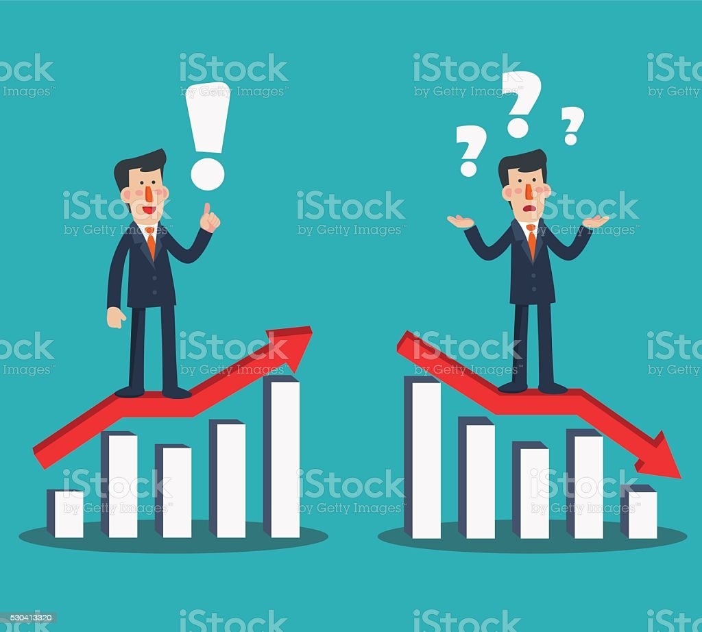 Successful businessman presenting chart. Sad businessman with arrow graph down vector art illustration
