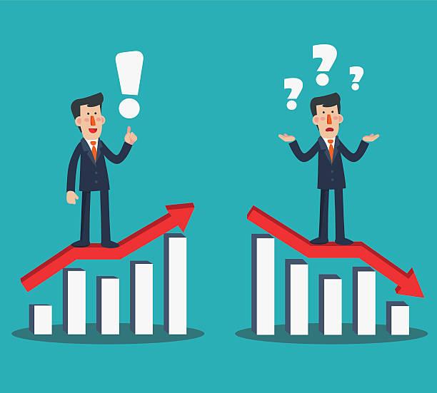 stockillustraties, clipart, cartoons en iconen met successful businessman presenting chart. sad businessman with arrow graph down - mislukking