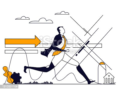 istock Successful Businessman running. Set of Business concept illustrations. 1312001106