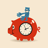 Blue Little Guy Characters Full Length Vector art illustration.Copy Space. Successful businessman sitting on a big coin piggy bank with clock face, time is money concept.
