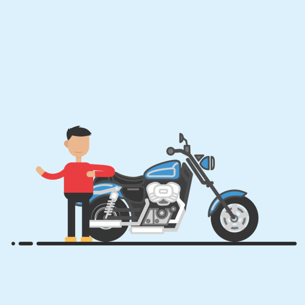 Successful Businessman Businessman success in front of his new motorcycle cruiserweight stock illustrations