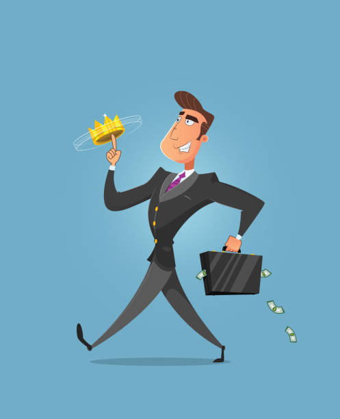 Successful businessman walking Successful businessman walking and playing with crown on his finger. Rich businessman - vector illustration bonus march stock illustrations