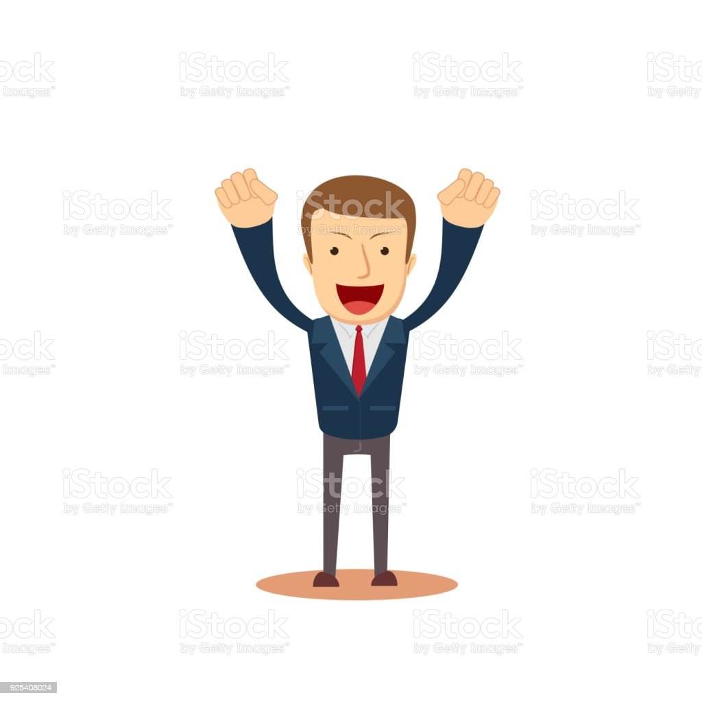 Successful businessman with arms up vector art illustration
