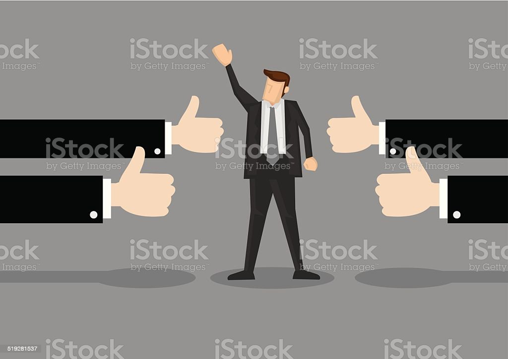 Successful Businessman with Many Thumbs up vector art illustration