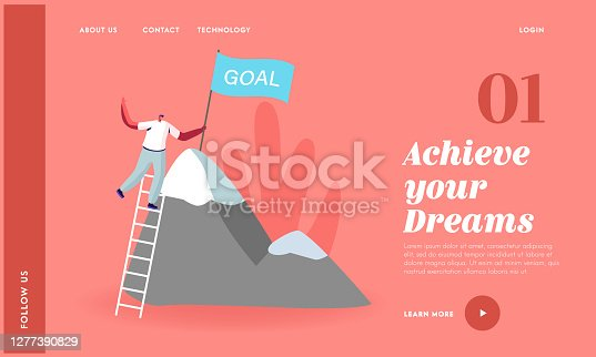 Successful Career, Leadership, Victory Landing Page Template. Business Man Character Climbing on High Mountain. Businessman Stand on Ladder, Set Up Goal Flag on Rock Peak. Cartoon Vector Illustration
