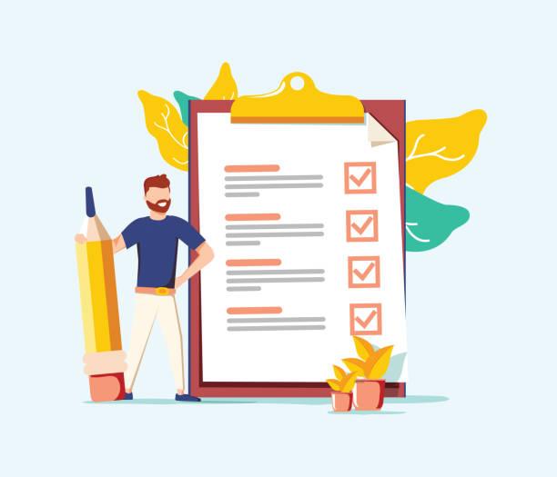 Erfolgreicher Abschluss der Geschäftsaufgaben. Positiver Geschäftsmann mit einem Riesenstift auf der Schulter nahe der Checkliste. – Vektorgrafik