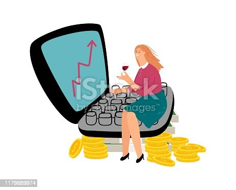Successful female investor. Investment concept. Happy businesswoman vector. Flat girl with wine, laptop and money, coins