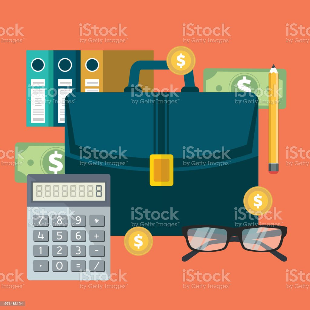 successful financial business plan report and accounting flat vector