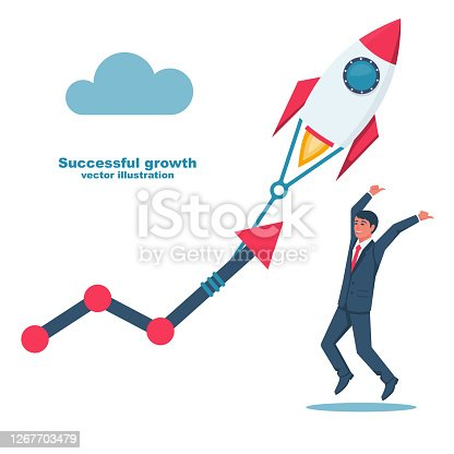 Successful growth. Businessman happy project success. Vector illustration flat design. Isolated on white background. Rocket takes off. Series of successful people.