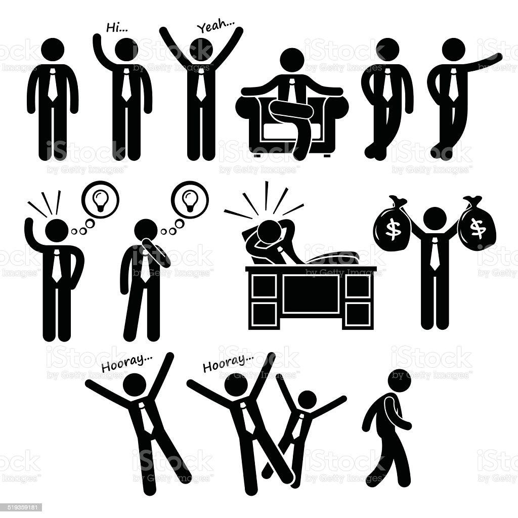 Successful Happy Businessman Poses Stick Figure Pictogram Icons vector art illustration